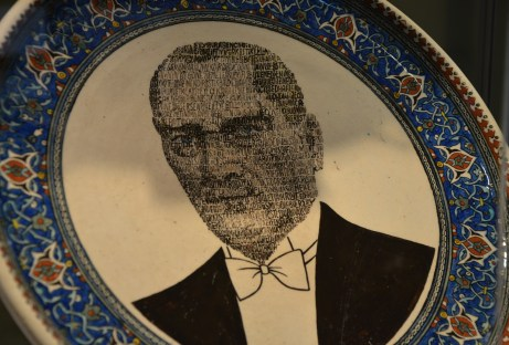 Decorative plate of Atatürk at the Çini Müzesi in Kütahya, Turkey