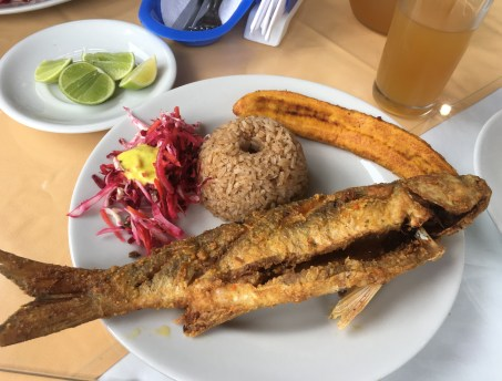 Fried fish at Cabañas Costa Real in Ladrilleros, Valle del Cauca, Colombia