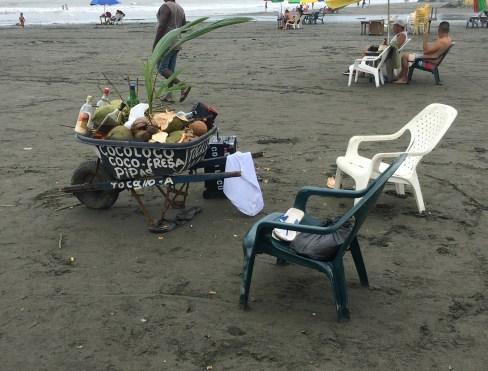 Coco loco cart in Ladrilleros, Valle del Cauca, Colombia