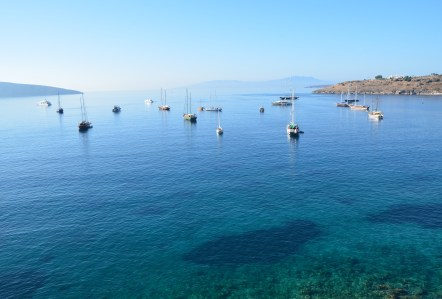View of the Aegean at the Castle of St. Peter in Bodrum, Turkey