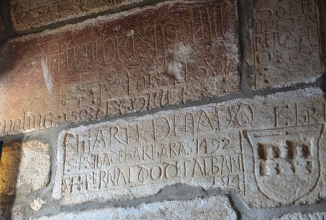 Crusader graffiti at the English Tower at the Castle of St. Peter in Bodrum, Turkey