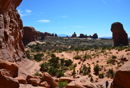 View from Double Arch at the Windows Section at Arches National Park in Utah