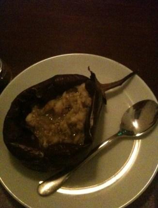 Stuffed eggplant at Orfoz in Bodrum, Turkey
