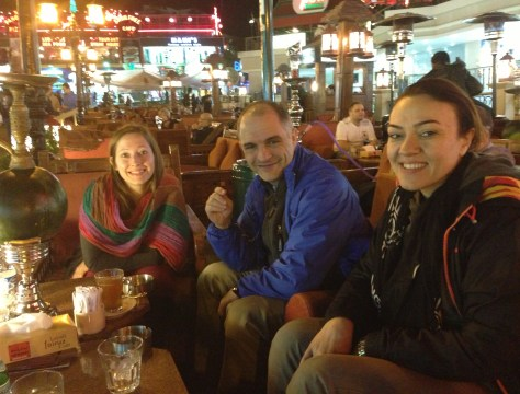 Our group enjoying shisha in Na'ama Bay, Sharm el-Sheikh, Egypt