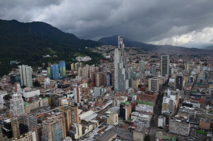 The view of La Candelaria from Torre Colpatria in Bogotá, Colombia