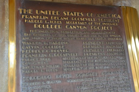 Commemorative plaque at Hoover Dam in Nevada