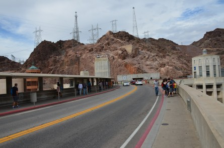 Walking along the dam at Hoover Dam in Nevada