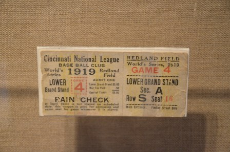 Ticket from the 1919 World Series at the Mob Museum in Las Vegas, Nevada