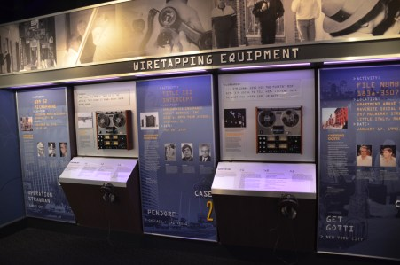 Wiretapping equipment at the Mob Museum in Las Vegas, Nevada
