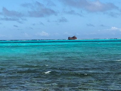Shipwreck off Haines Cay in San Andrés, Colombia