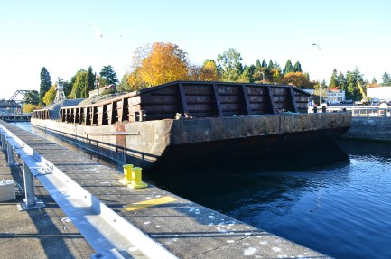 The barge at a higher water level at the Ballard Locks in Seattle, Washington