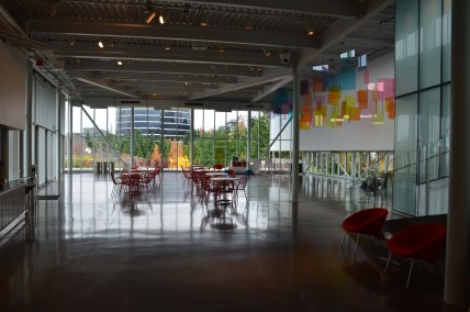 Interior of PACCAR Pavilion at Olympic Sculpture Park in Seattle, Washington