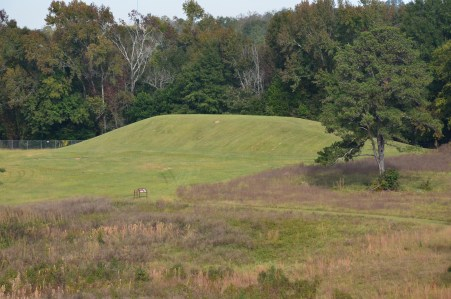 Funeral Mound from the Great Temple Mound at Ocmulgee National Monument in Macon, Georgia