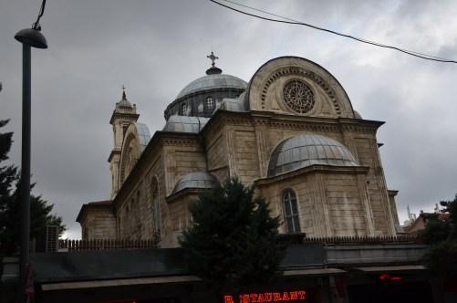 View of the church from the rear at Agia Triada Greek Orthodox Church in Istanbul, Turkey