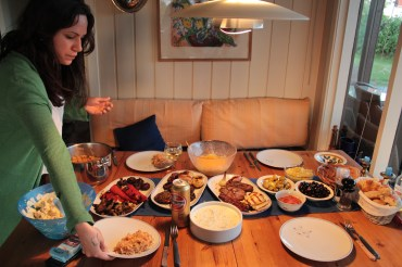 Yasemin and her delicious Turkish side dishes.