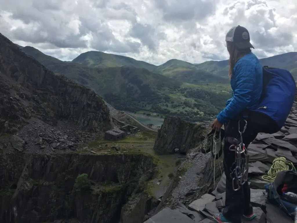 rock climbing the slate Wales