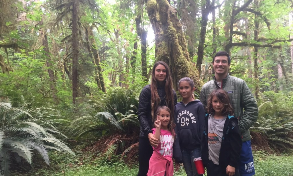 nomad kids at Hoh Rainforest in Olympic National Park Washington