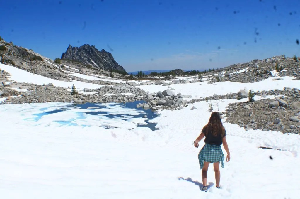 Hiking through snow on the Enchantments, US & Canada Road Trip