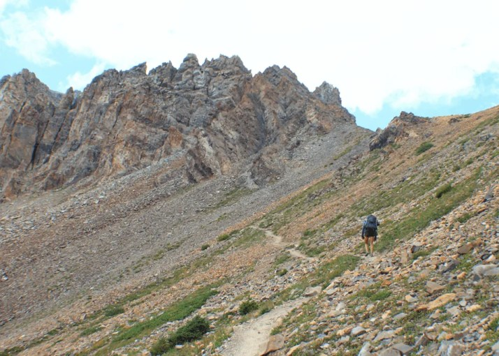 The final ascent of Trail Rider Pass, Backpacking the Maroon Bells Four Pass Loop
