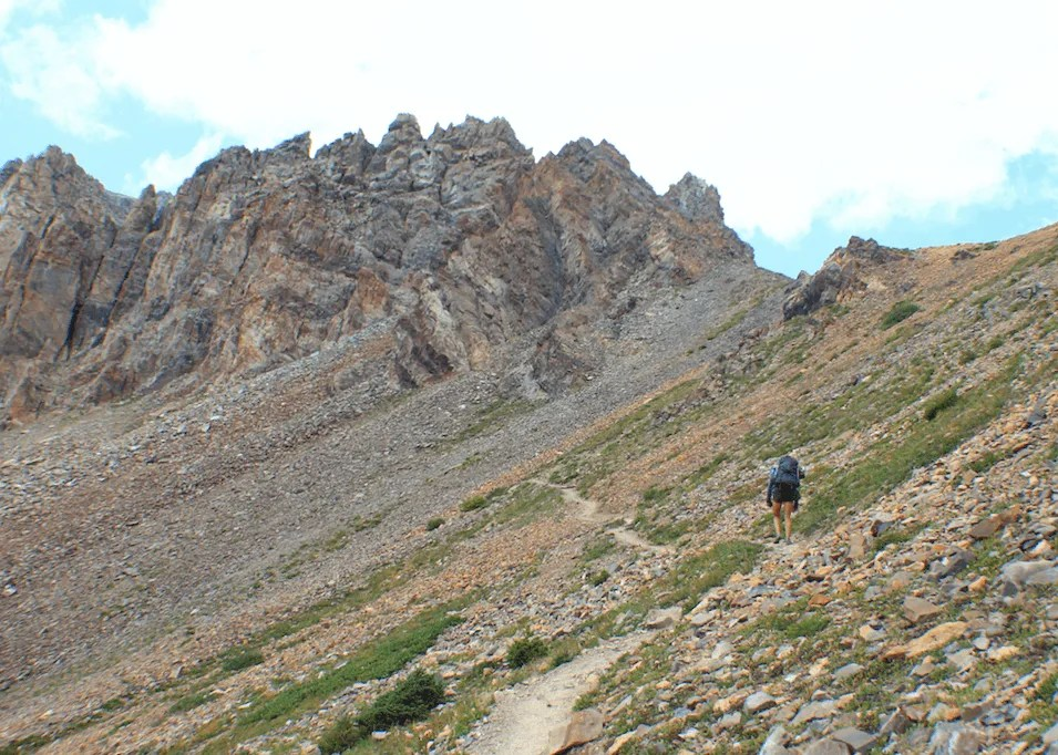 final ascent of Trail Rider Pass, Backpacking the Maroon Bells Four Pass Loop