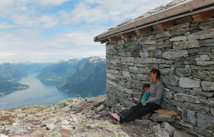 Taking in the view from the refuge at the top of Molden in Norway