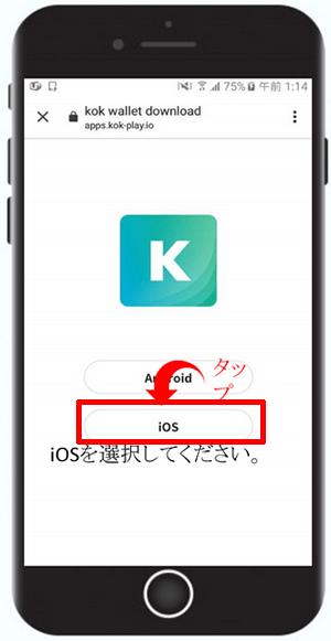 iPhoneの場合は「iOS」をタップ
