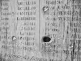 Bullet scarred 14-18 memorial in the church