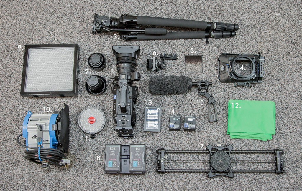 Some of the kit available for filming