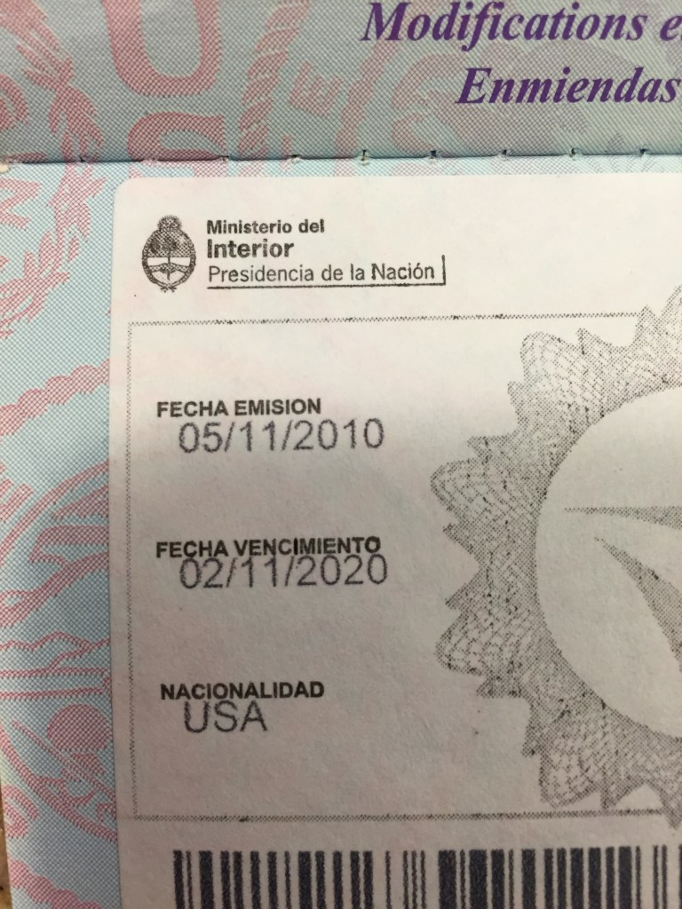 Argentina Fee Passport Stamp, Paid in 2010, used 14 times since
