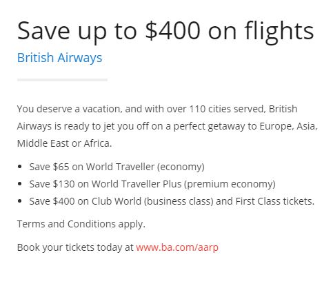 AARP British Airways Discount
