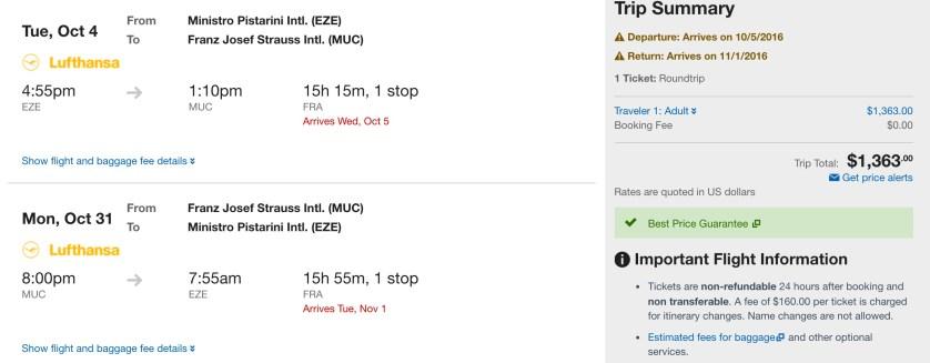 Round trip Buenos Aires to Munich