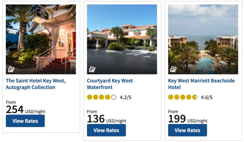 Key West Hotels are the most expensive for points