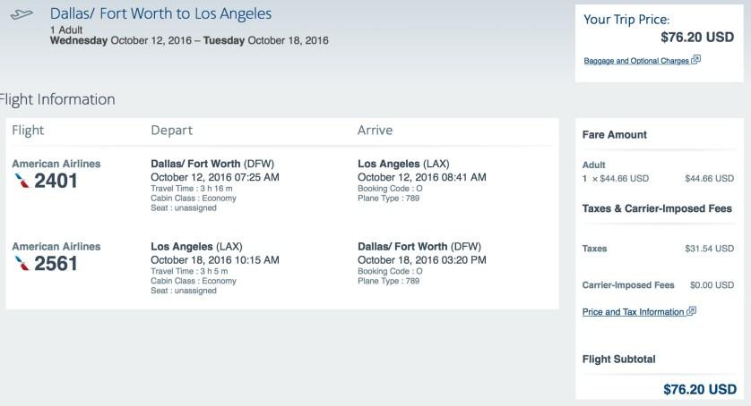 Dallas to Los Angeles, American