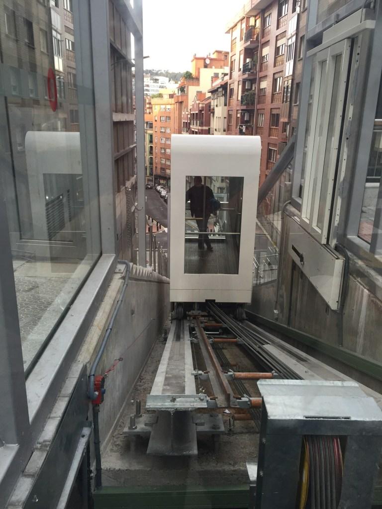 Modern Escalator / Elevator in the City of Bilbao