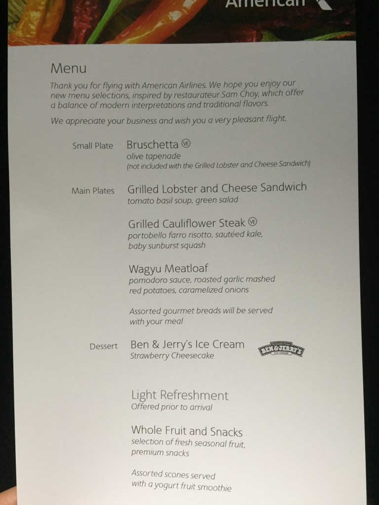 Food Menu, overnight flight