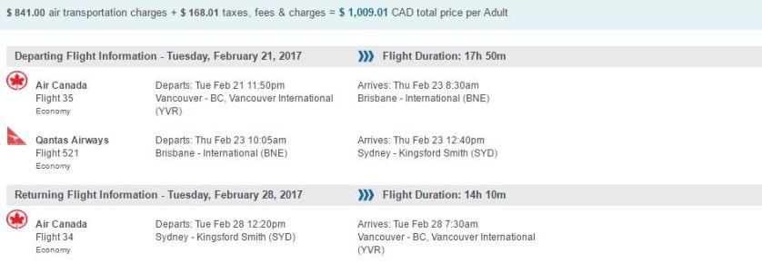 Vancouver to Sydney