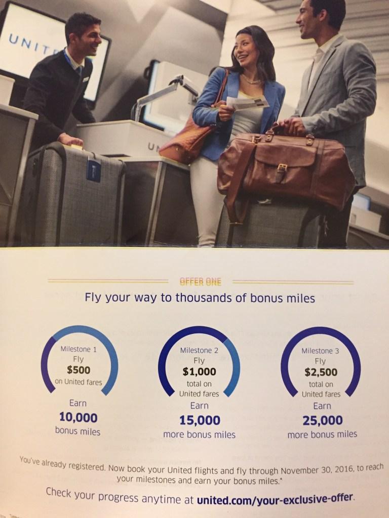 United Mileage Plus Bonus Offer