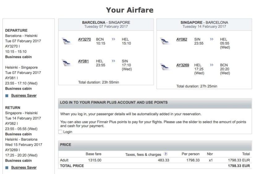 Finnair Business Class Sale