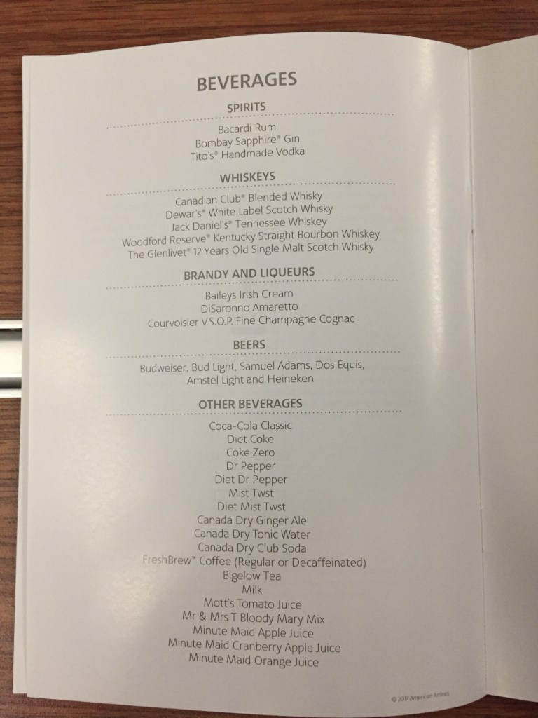 Business Class Menu, American Airlines