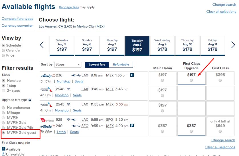 Alaska Airlines Elite Upgrades