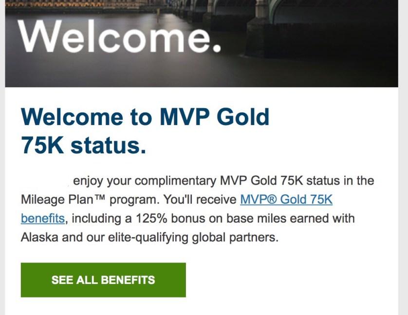 Complimentary MVP Gold 75K Status