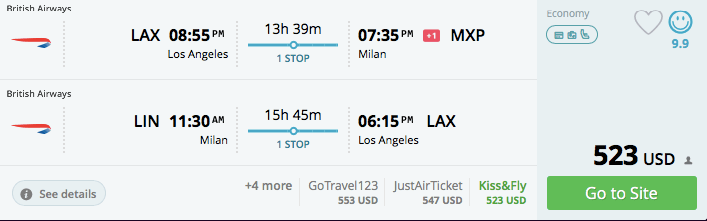 Los Angeles to Milan in November