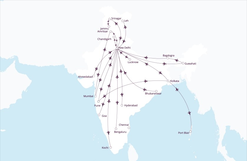 Vistara Route Map