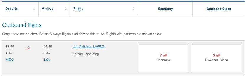 LATAM Availability on British Airways