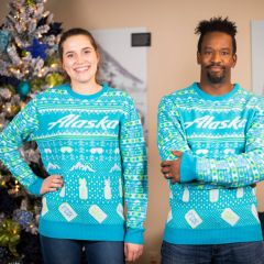 Alaska Airlines Celebrates Ugly Christmas Sweater Day