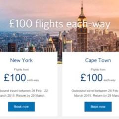 British Airways 100th Anniversary Sale – £100 Flights Each Way!