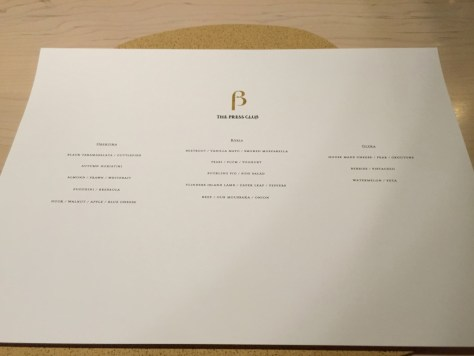 Press Club Menu