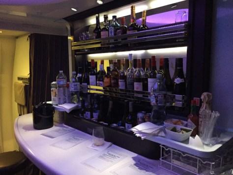 Fully stocked bar for a night-cap, Virgin Australia Flight