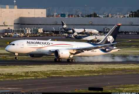 Aeromexico Dreamliner 787, Photo credit to Andrés Bravo Herrera from Airlines.net