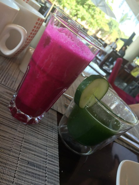 Fresh Cucumber and Dragon Fruit Juice